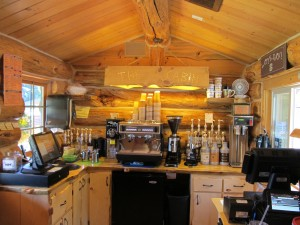 drive through concession, drive-thru coffee, concession trailer, coffee cart, modular log structure